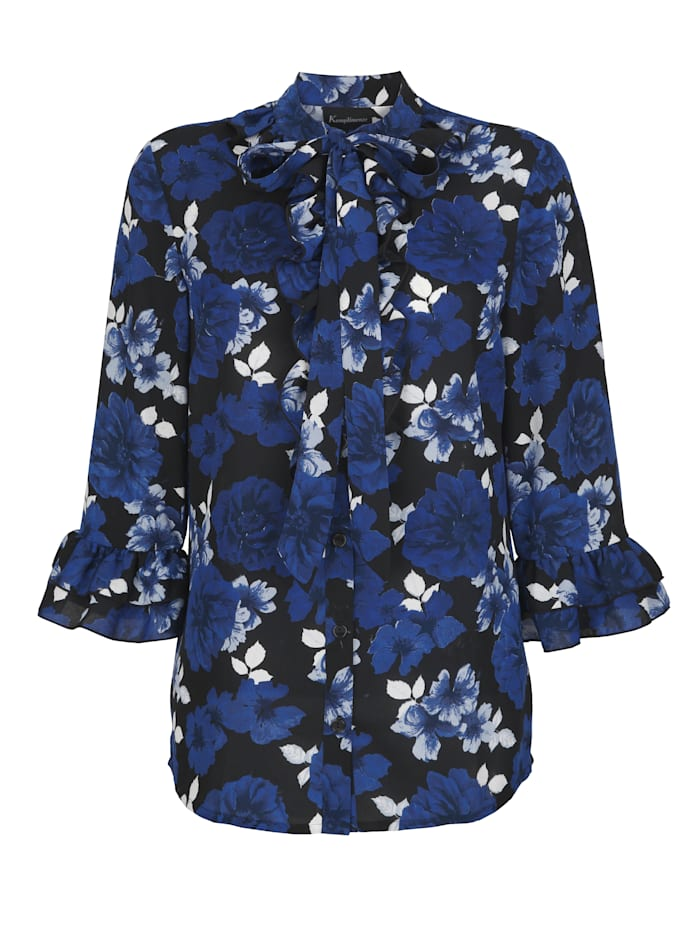 Blus med blommigt mönster