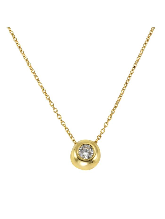 Celesta Collier 375/- Gold Zirkonia weiß 42+3cm Glänzend, gelb