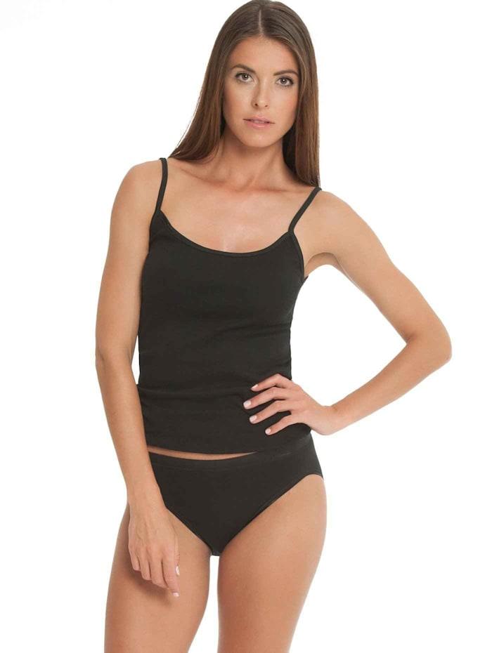 Nina von C. Spaghetti-Top, 2er Pack Bio-Baumwolle, schwarz