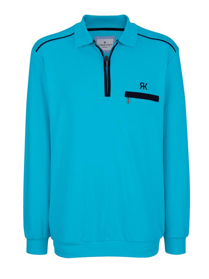 Roger Kent Sweatshirt met contrastkleurige details, Turquoise