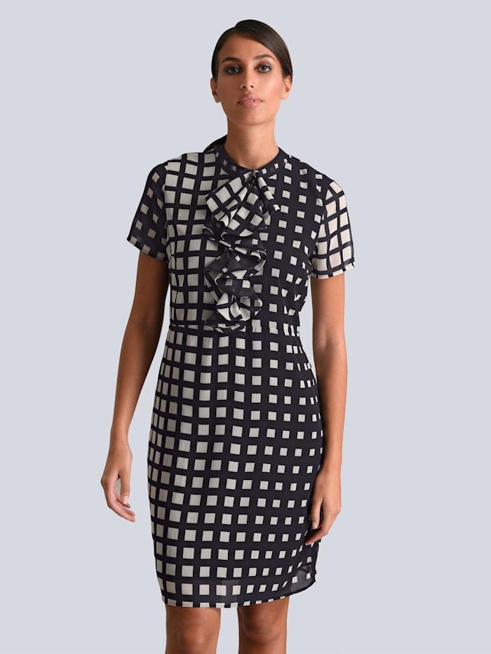 Alba Moda Kleid mit Rüschendetails in der vorderen Mitte, Schwarz/Creme-Weiß