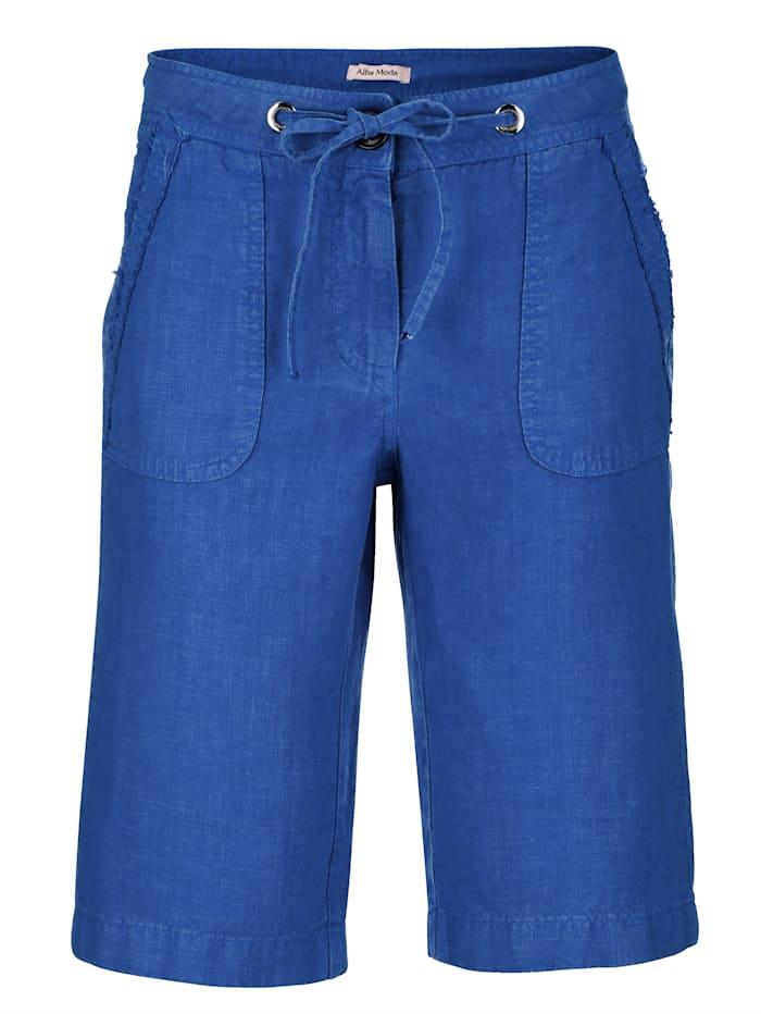Alba Moda Shorts aus hochwertiger, reiner Leinenqualität, Royalblau