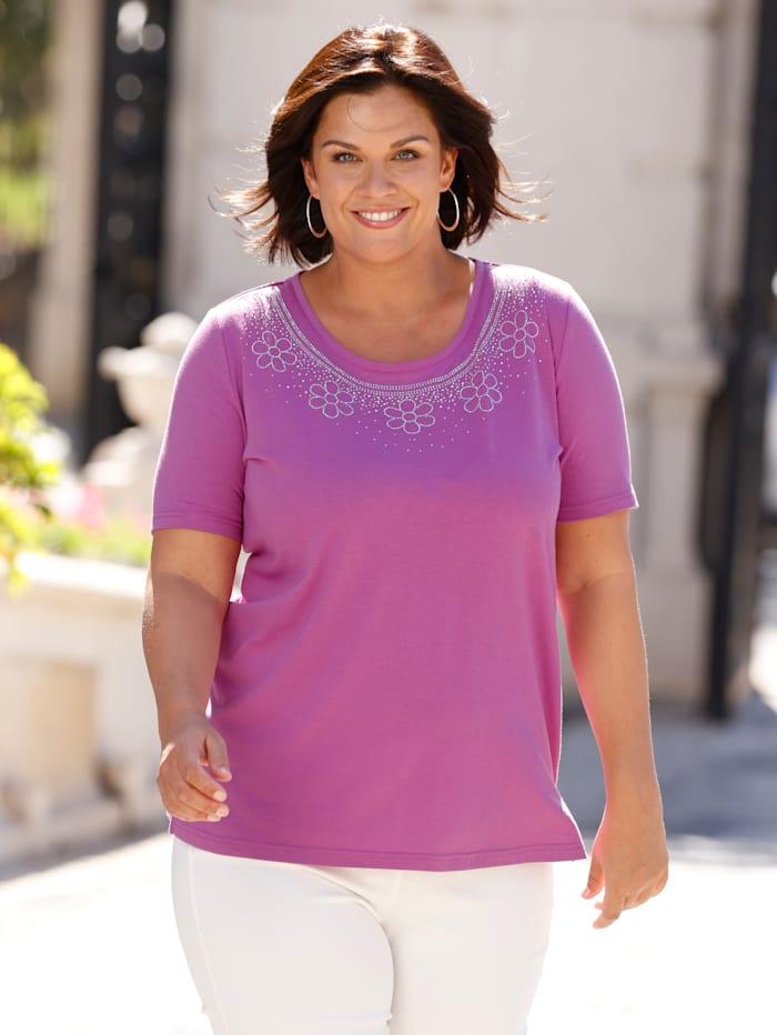 m. collection Shirt mit aufwendiger Plättchendekoration am Rundhals, Pink