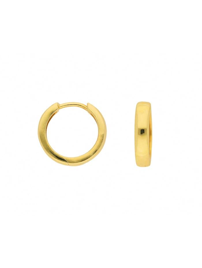 1001 Diamonds Damen Goldschmuck 585 Gold Ohrringe / Creolen Ø 15 mm, gold