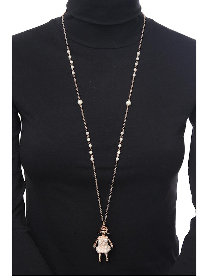 Lange Kette Hulda lange goldfarbige Gliederkette mit Perlen