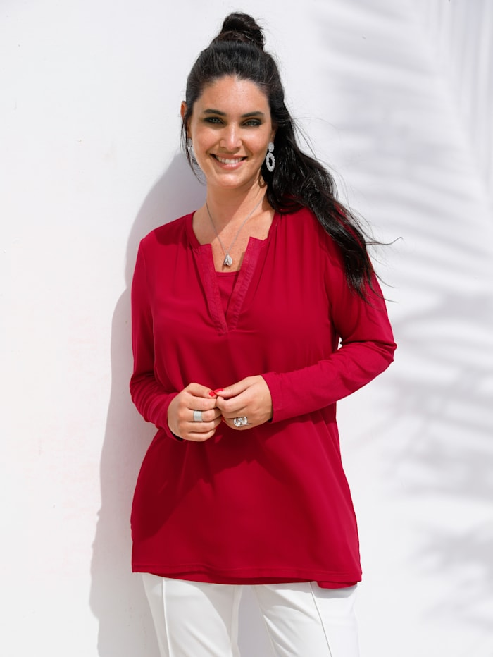 MIAMODA 2-in-1-shirt met geïntegreerd topje, Rood