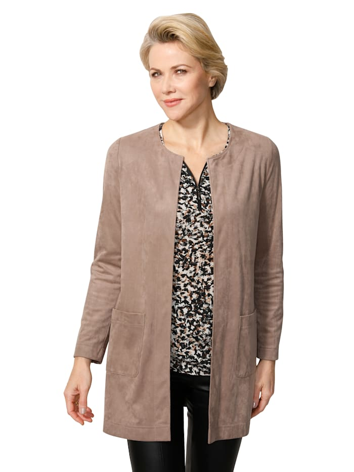MONA Faux suede jacket in a classic cut, Taupe