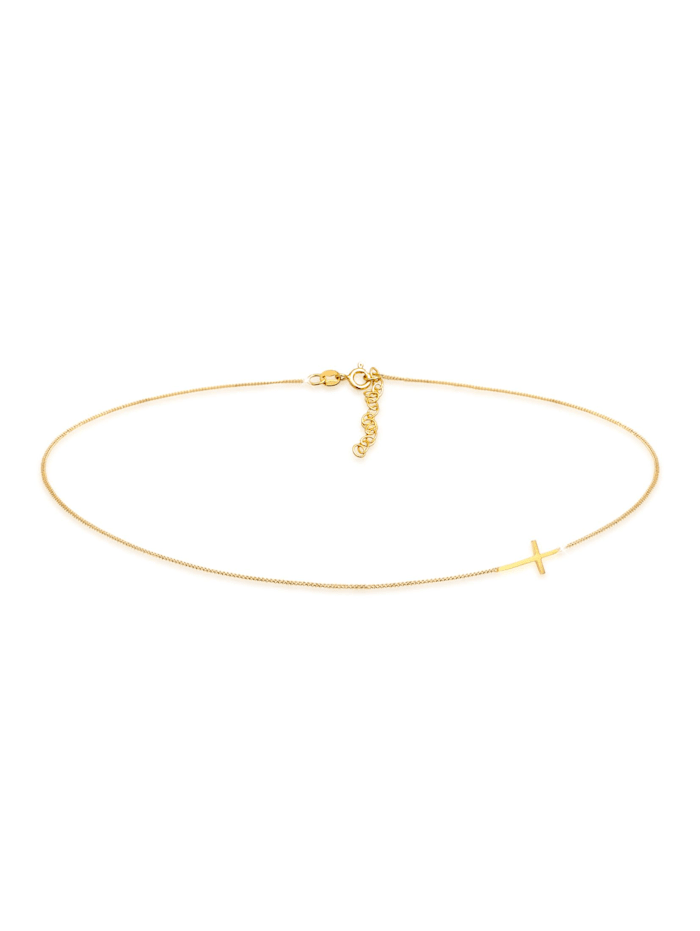 Elli Halskette Choker Kreuz Religion 925 Sterling Silber, Gold
