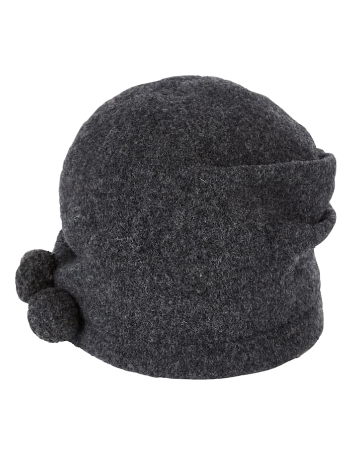 Seeberger Milled wool hat with decorative pom-poms, Anthracite