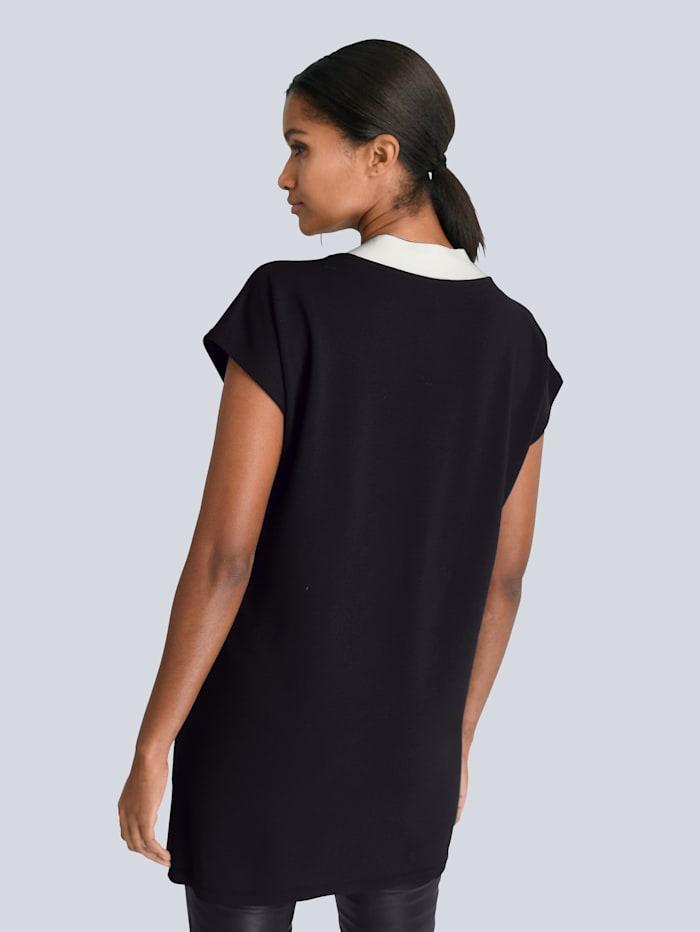 Longshirt mit kontrastfarbiger Schleife am Ausschnitt