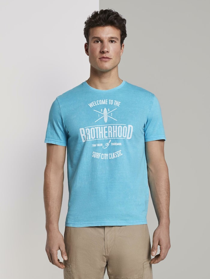 Tom Tailor T-Shirt in Stone-Washed-Optik, clear blue atoll