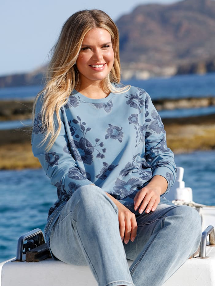 Janet & Joyce Sweatshirt met pailletten aan de zoom voor, Blauw