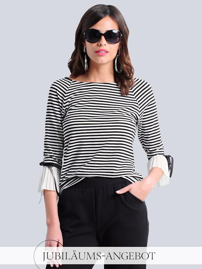 Alba Moda Shirt allover im Ringel-Dessin, Off-white/Schwarz