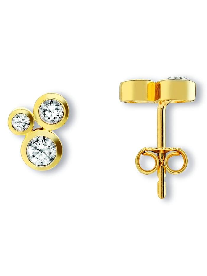 One Element Damen Schmuck Ohrringe / Ohrstecker aus 333 Gelbgold Zirkonia, gold
