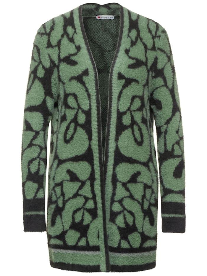 Street One Feinstrick Animal-Cardigan, rich celadon