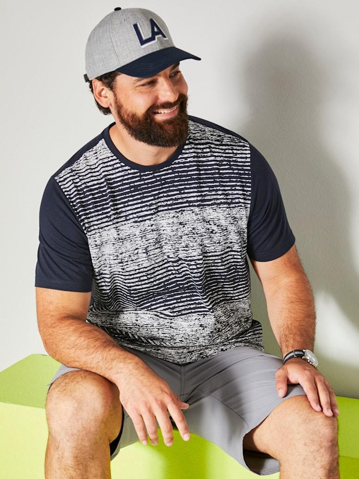 Men Plus T-Shirt schnelltrocknend, Marineblau/Weiß
