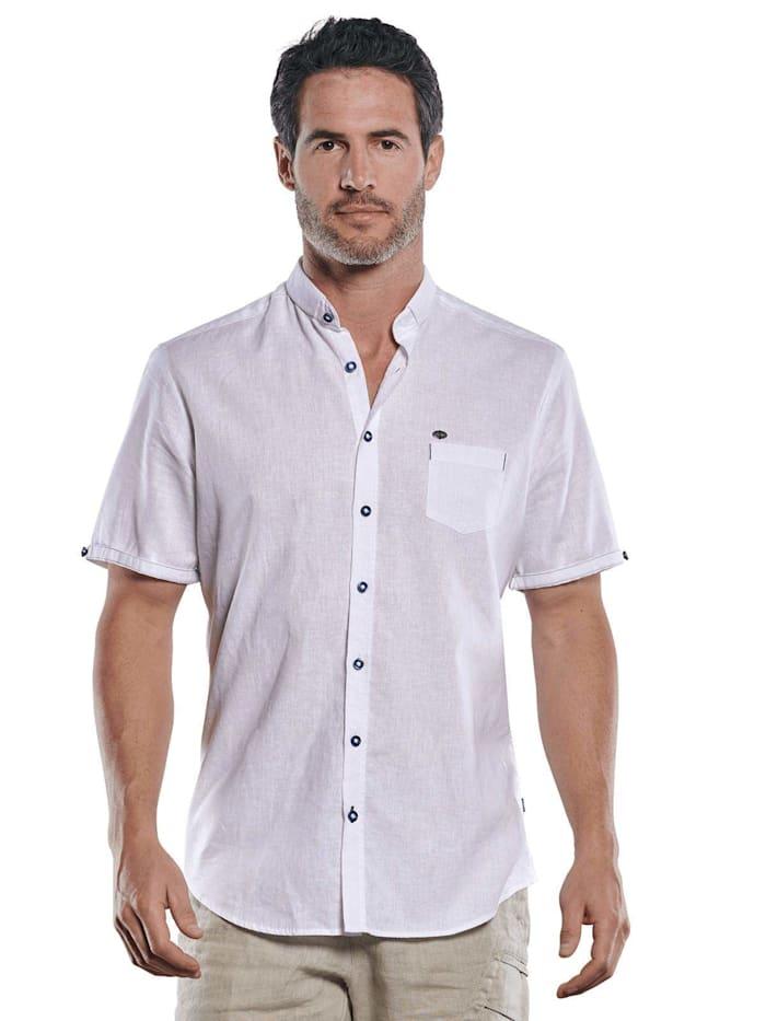 Engbers Modisches Leinenhemd mit dezenten Kontrastdetails, Reinweiss