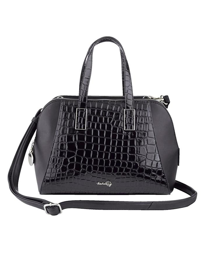 Taschenherz Handtasche mit Krokoprägung, schwarz