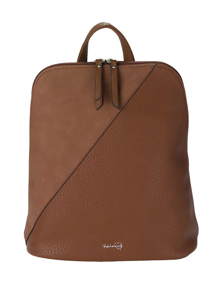 Taschenherz Rucksack aus hochwertigem Softmaterial, cognac