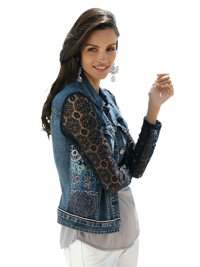 AMY VERMONT Jeansjacke mit Ärmeln aus Spitze, Blue bleached