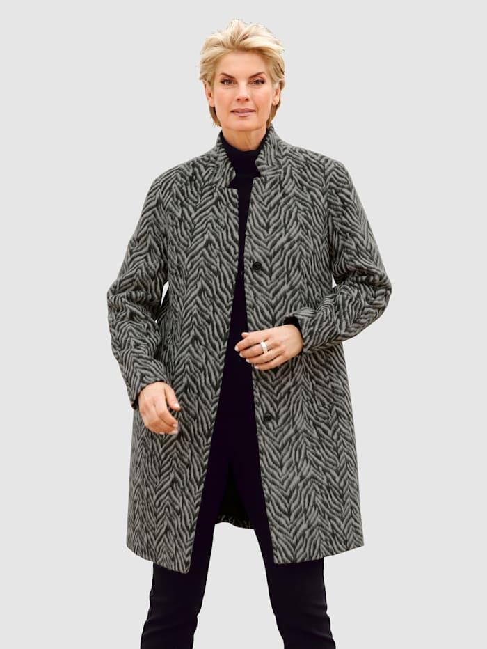 Paola Kort kappa med ull, Svart/Vit