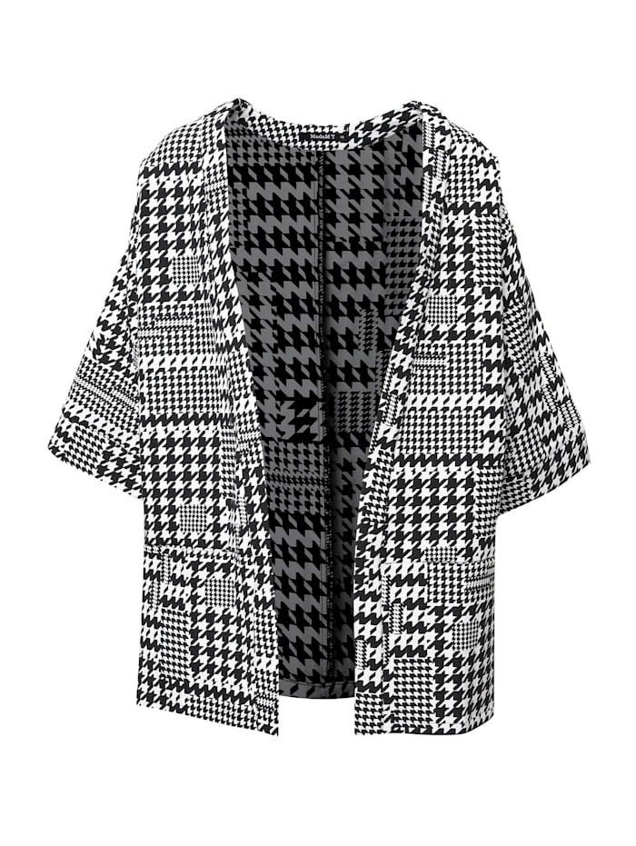 Madam-T Kimono-Jacke Jacke Eida ., weiß schwarz