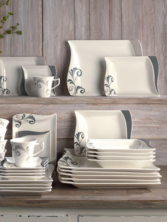 Van Well Middagsservise -Romantico- i 12 deler, hvit/grå