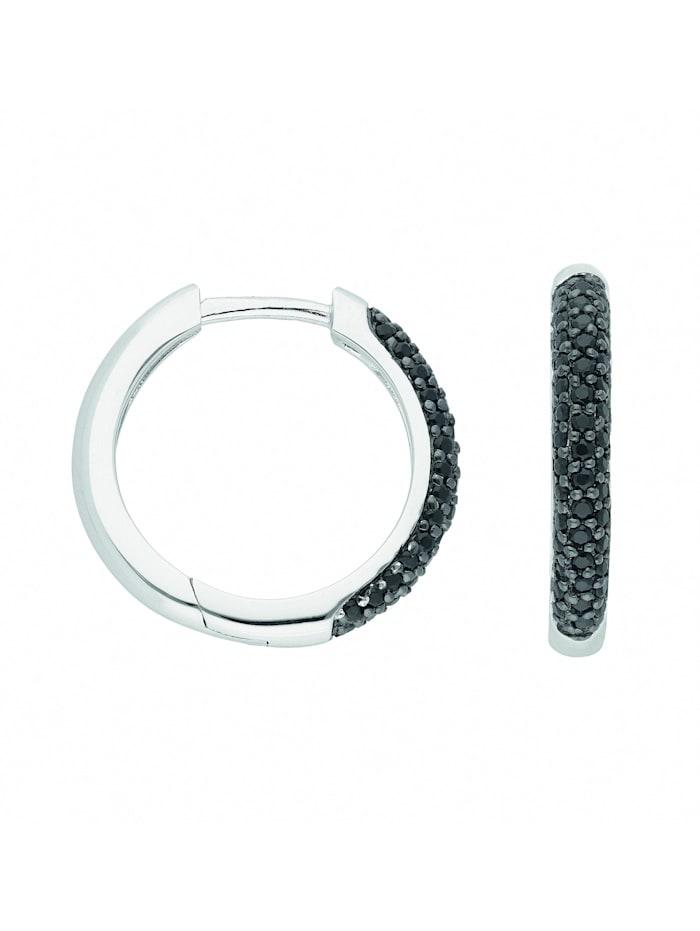 1001 Diamonds Damen Silberschmuck 925 Silber Ohrringe / Creolen mit Zirkonia Ø 18,4 mm, bunt