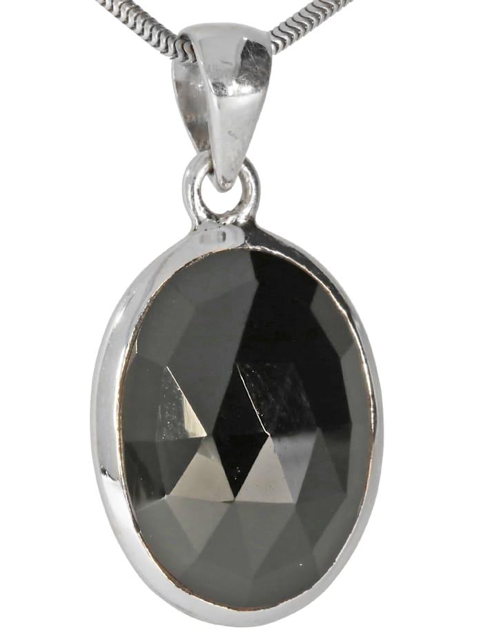 1001 Diamonds Damen Schmuck Edelstein Spinell Anhänger 925 Silber schwarz, schwarz