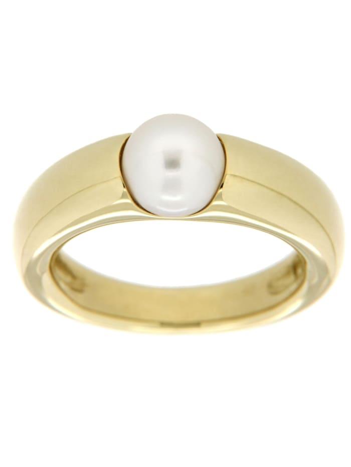 Orolino Ring 585/- Gold Akoya Zuchtperle weiß Glänzend 585/- Gold, gelb