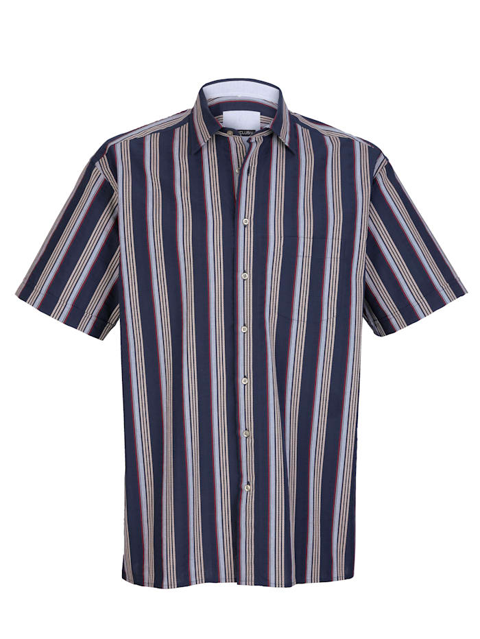 Hemd in Seersucker-Qualität, Marineblau