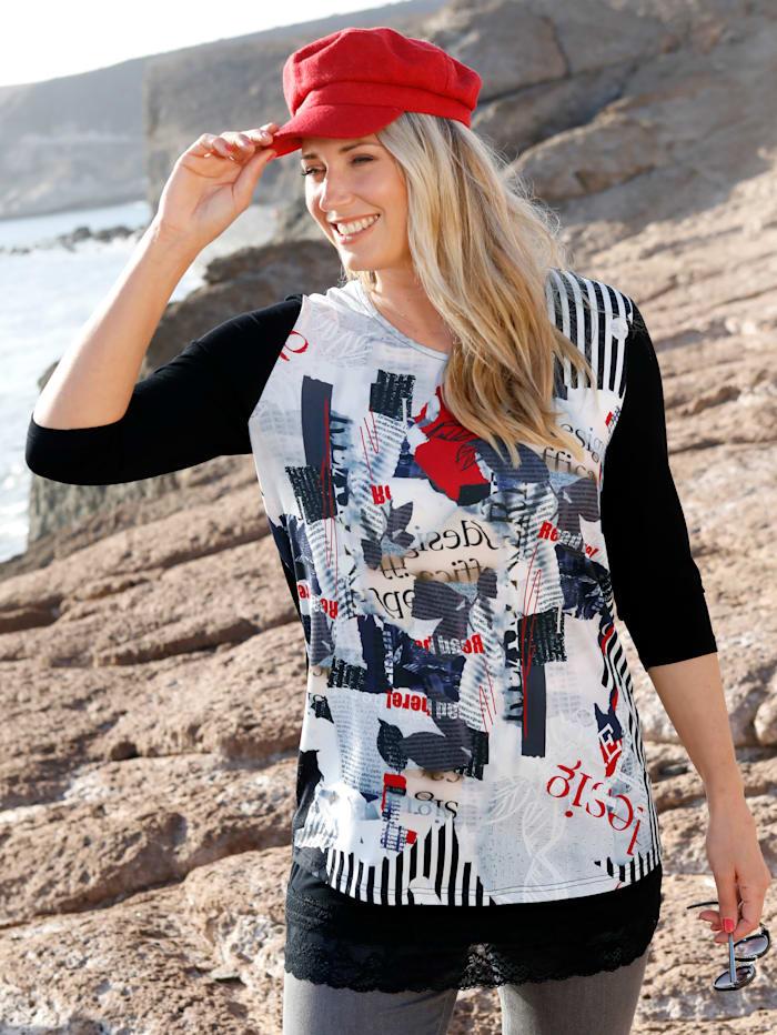 MIAMODA Shirt van een materialenmix, Zwart/Wit/Rood