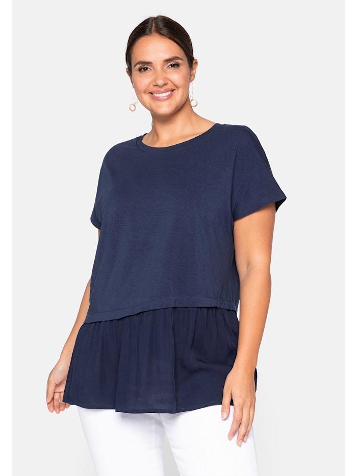 Sheego Sheego Shirt mit Schößchen, marine