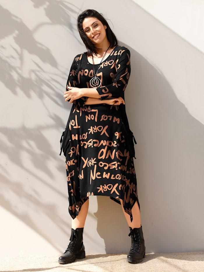 MIAMODA Kleid mit seitlichen Zipfeln, Schwarz/Cognac