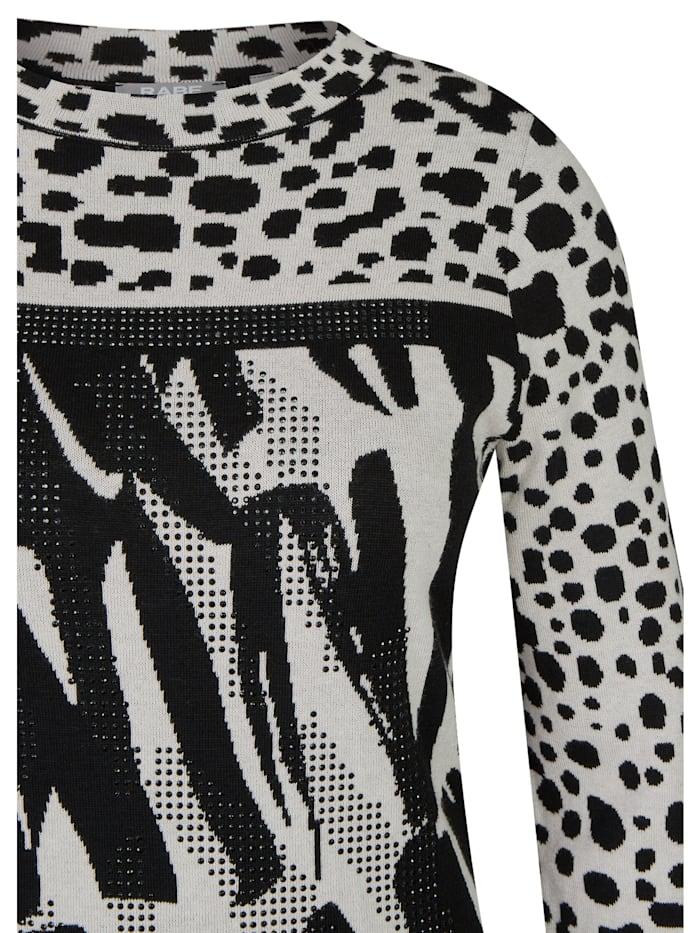 Pullover mit grafischem Muster und Glitzersteinen