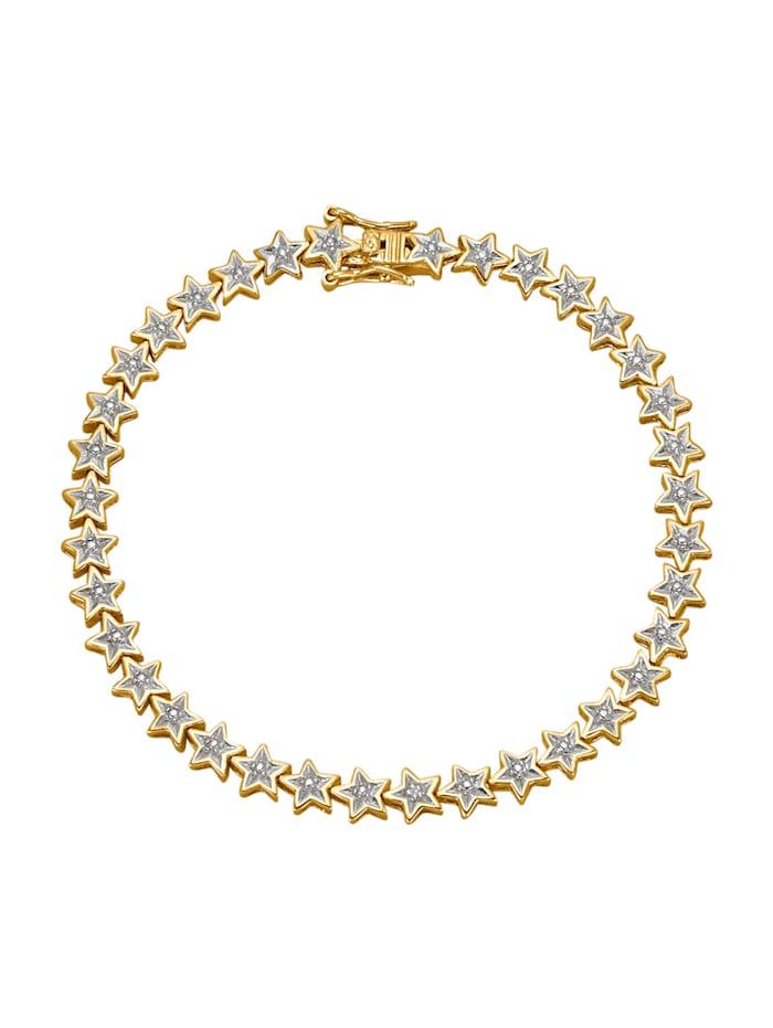 Bracelet d'étoiles avec diamant, Coloris or jaune