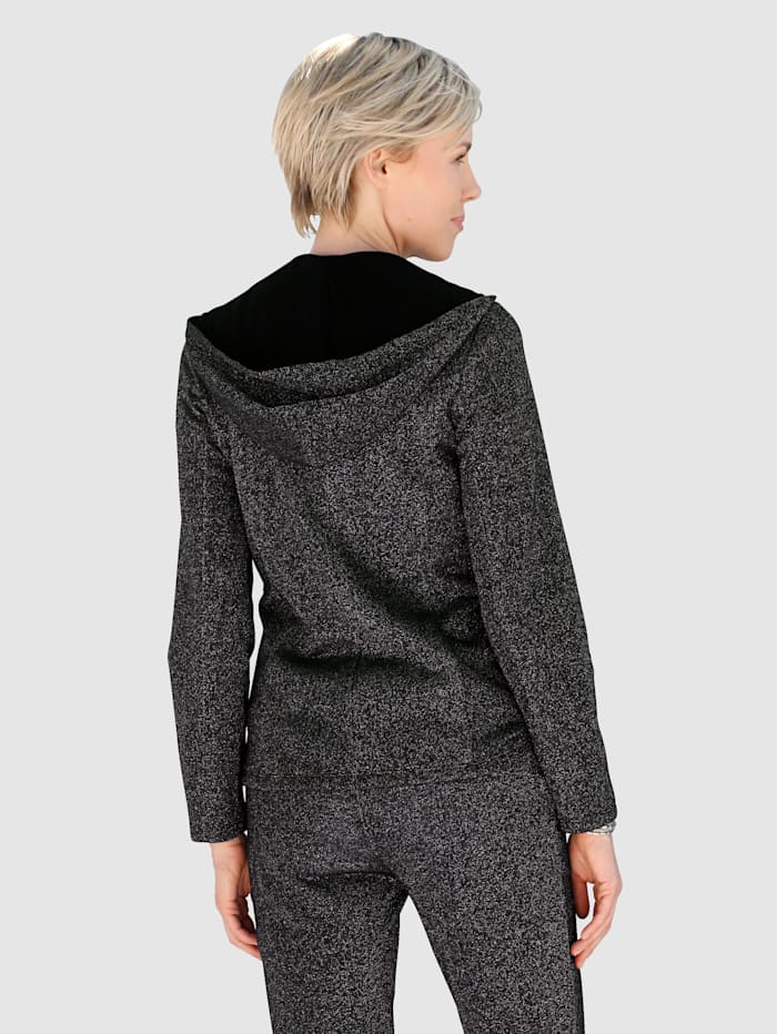 Sweatshirtkavaj med glittrande effekter