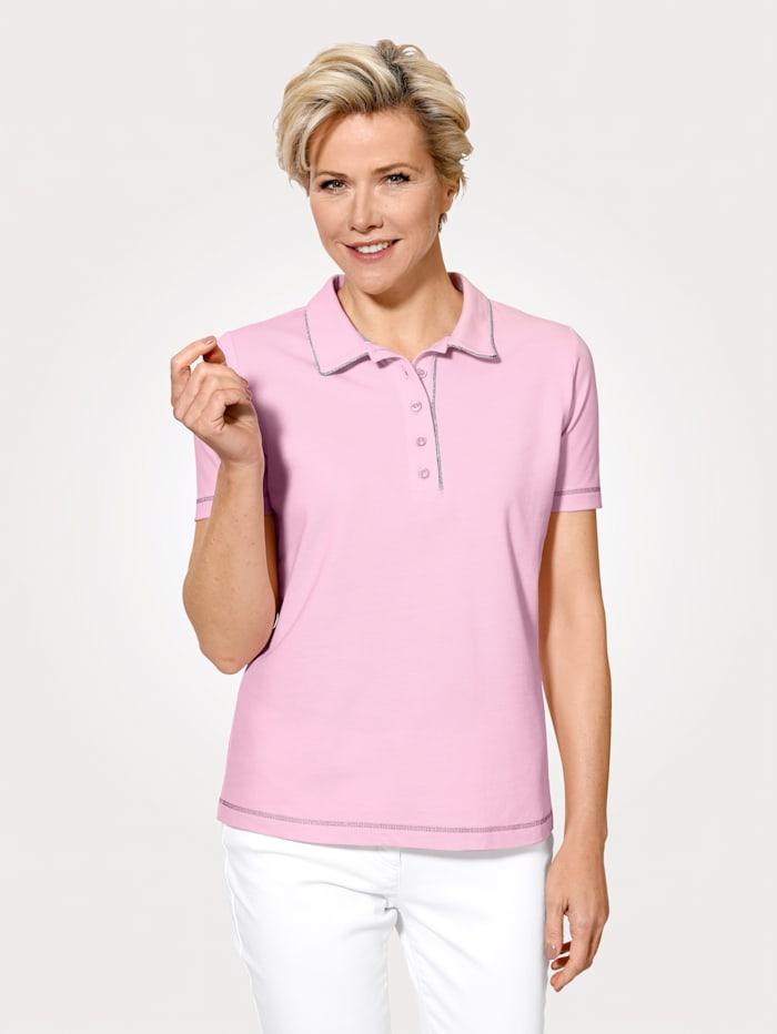 MONA Poloshirt van zuiver katoen, Roze