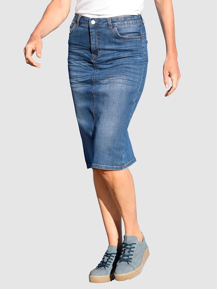 Dress In Spijkerrok met modieus washed effect, Blue bleached