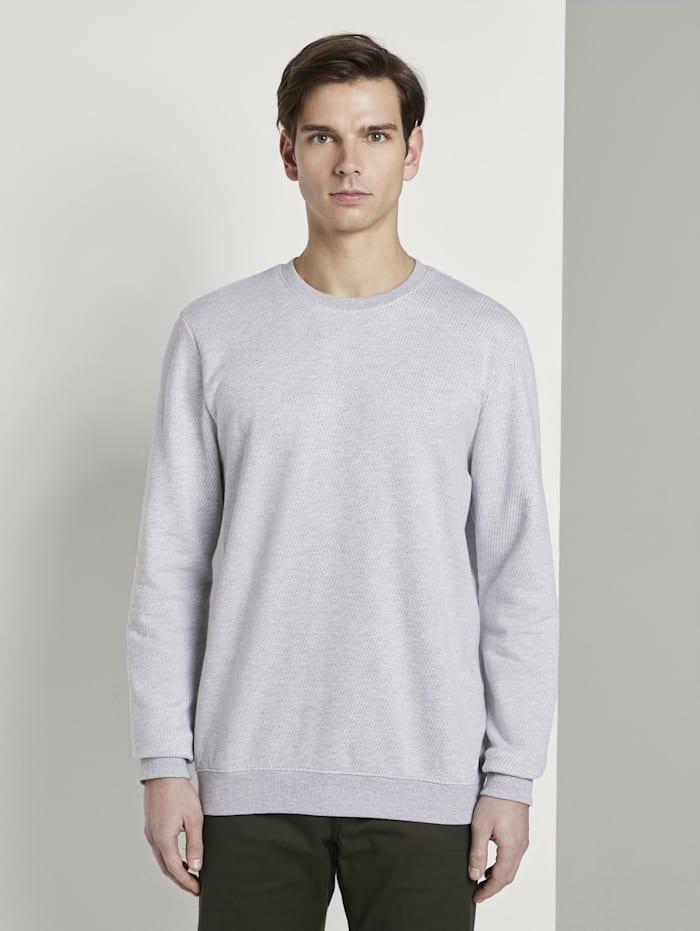 Tom Tailor Denim Strukturiertes Sweatshirt, grey stripy structure