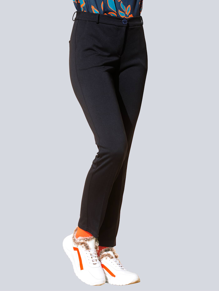 Alba Moda Jersey broek van comfortabel materiaal, Marine