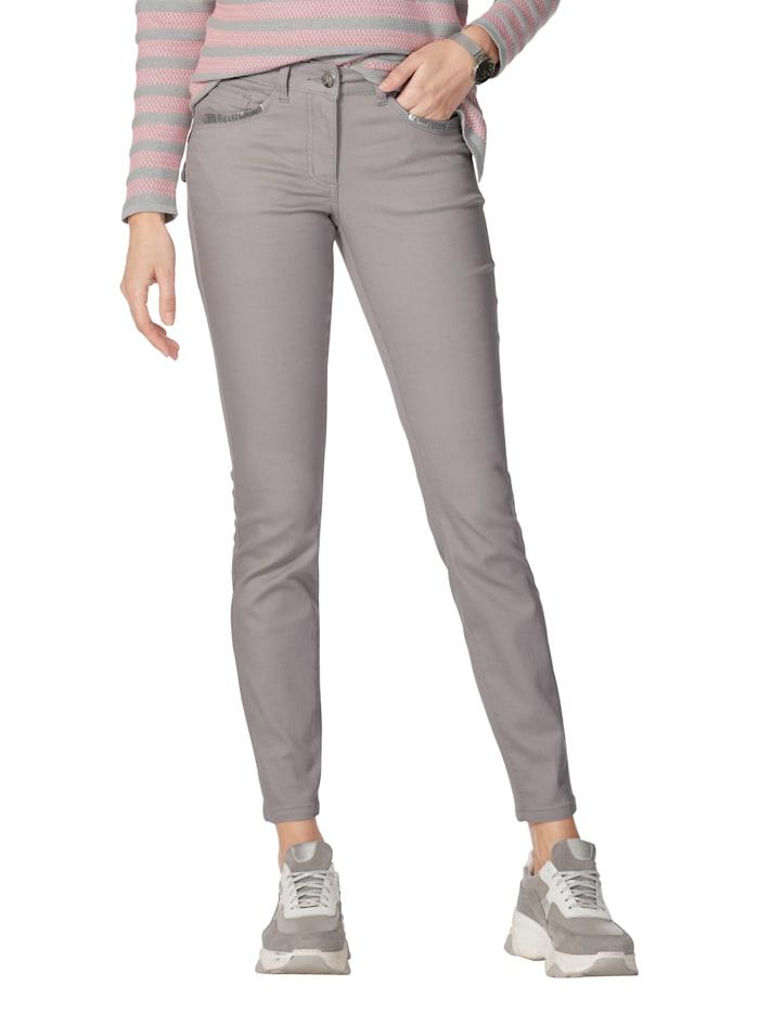 AMY VERMONT Jeans met pailletten op de voor- en achterzakken, Grijs