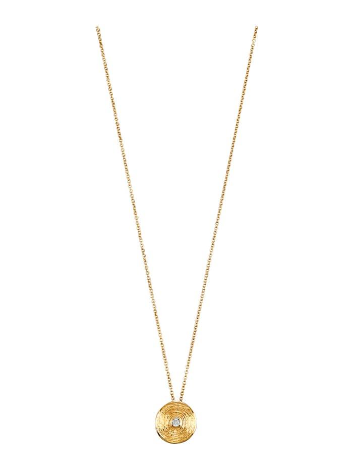 Amara Diamant Anhänger mit Kette, Gelbgoldfarben