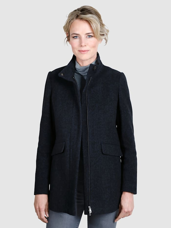 Dress In Wool Jacket with concealed, two-way zip, Navy/Royal Blue