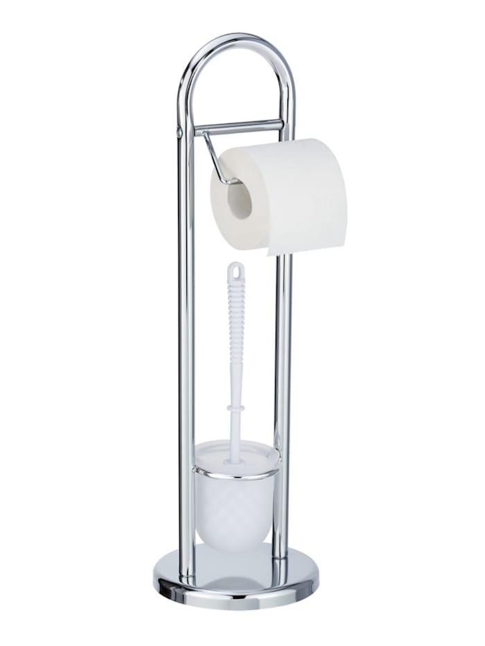 Wenko Stand WC-Garnitur Siena Chrom, Glänzend, Behälter: Satiniert