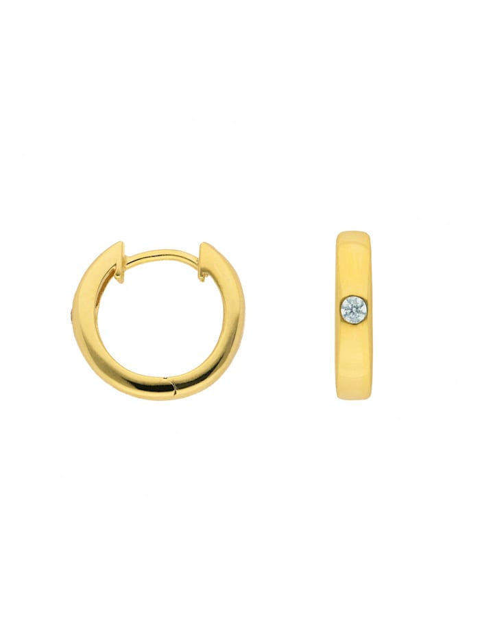 1001 Diamonds Damen Goldschmuck 585 Gold Ohrringe / Creolen mit Zirkonia Ø 13,6 mm, gold