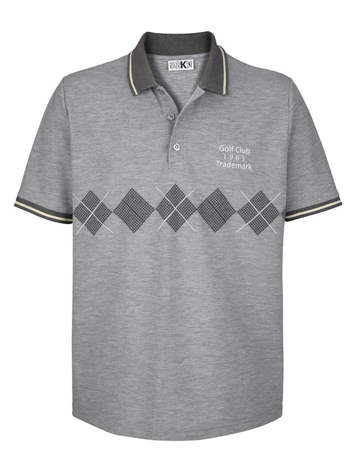 Roger Kent Poloshirt met print voor, Grijs