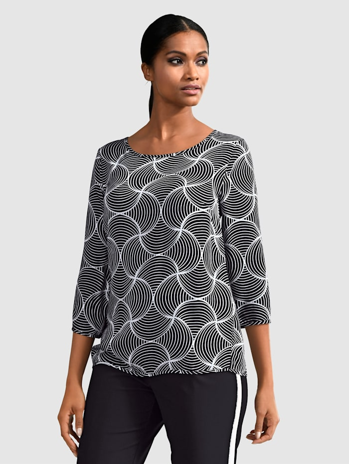 Alba Moda Bluse med eksklusivt mønster, Svart/Nude