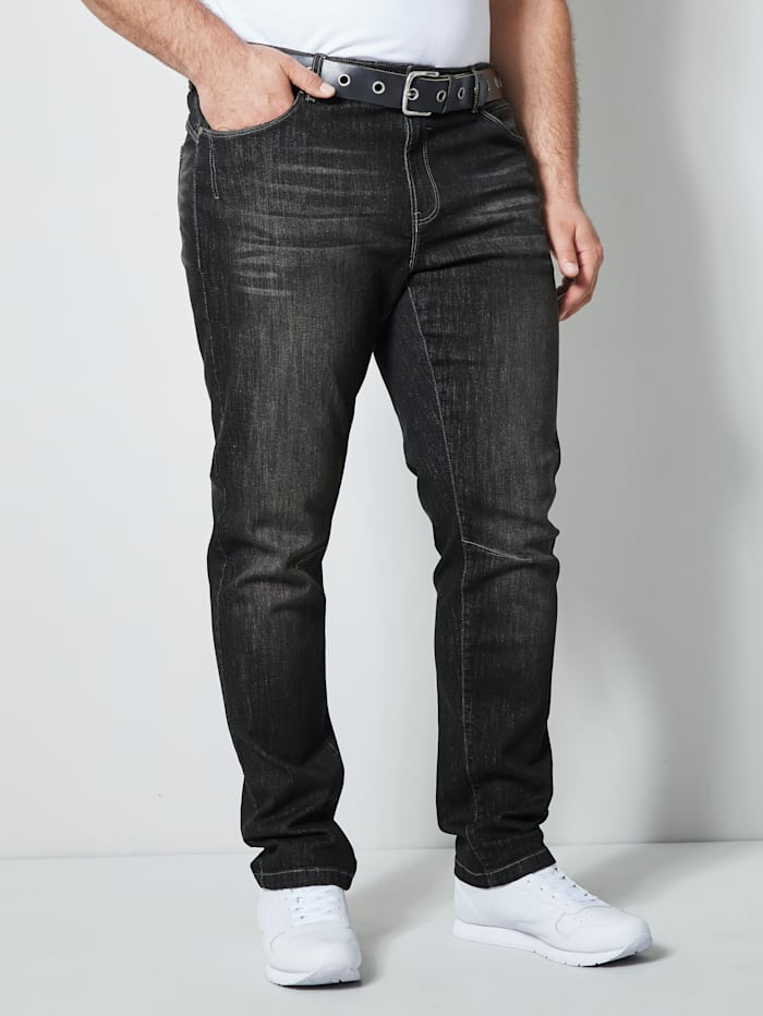 Men Plus Jeans in 5- Pocket- Form, Black stone
