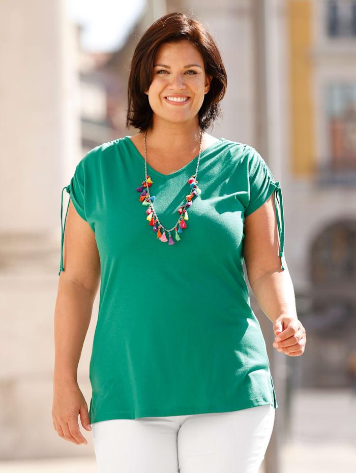 m. collection Shirt mit Raffung am überschnittenen Ärmel, Grün